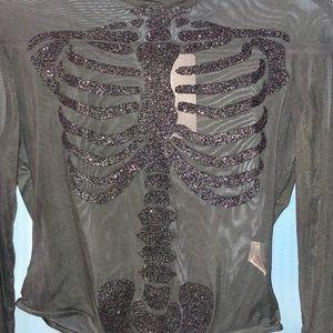 NWT Black Skeleton Beaded Print Thong Bodysuit